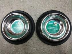 2 X Non Slip Stainless Steel Water And Food Bowls For Dogs C