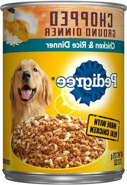 Dog Food Chopped Ground Dinner Adult Wet Canned Chicken & Ri