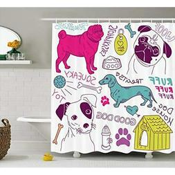 Dog Shower Curtain Sets Lover Decor Collection, Dogs Doodle