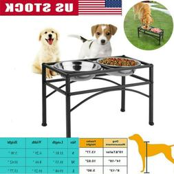 Dual Elevated Raised Pet Dog Puppy Feeder Bowl Stainless Ste