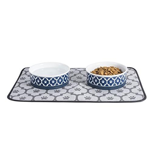 Bone Ceramic Pet Food & Non-Skid Silicone for Dogs and Nautical Blue