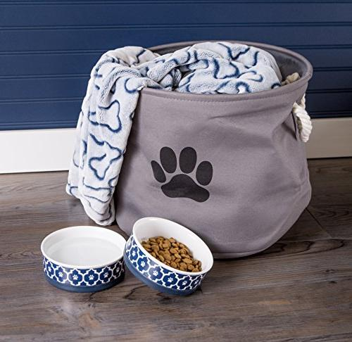 Bone DII Food & Water Non-Skid Dogs Blue