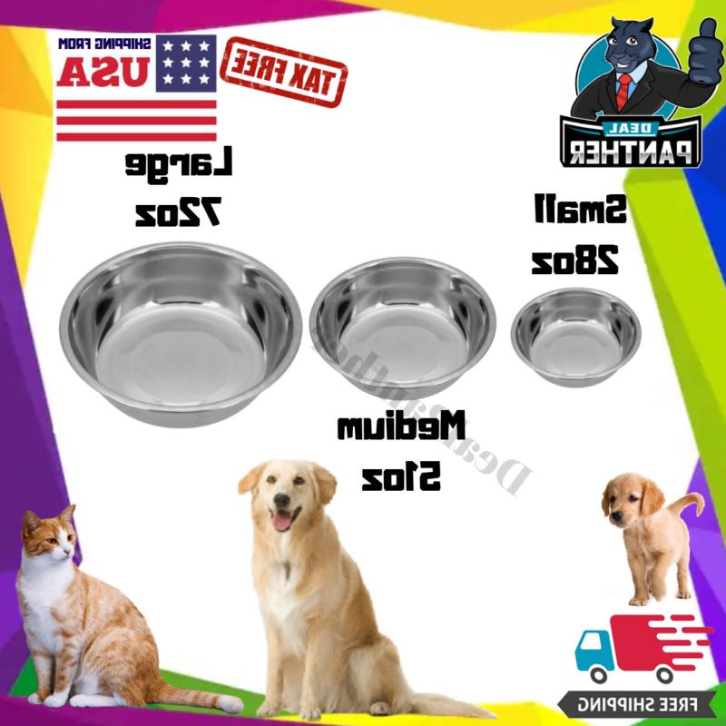 Dog Food Bowl Cat Pet Small Medium Large Big Stainless Steel