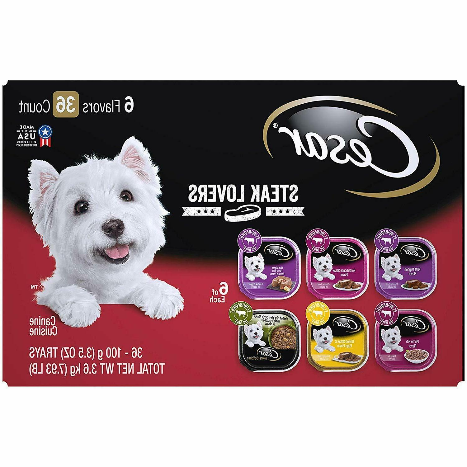 CESAR Soft Wet Dog Food Steak Lovers Variety Pack with Real