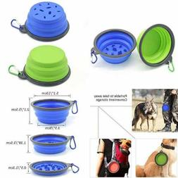 Pet Slow Food Bowl Outdoor Portable Dog Anti Mite Fold Suita