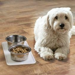 mDesign Silicone Pet Food/Water Bowl Feeding Mat for Dogs, S