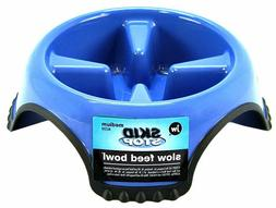 JW SLOW FEED Dog Food Bowl Non Skid Dish Break Fast Eating H